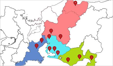 合計14つの拠点を構えており、中部地方を網羅するほどの店舗があります。